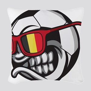 Belgium Angry Soccer Ball with Woven Throw Pillow