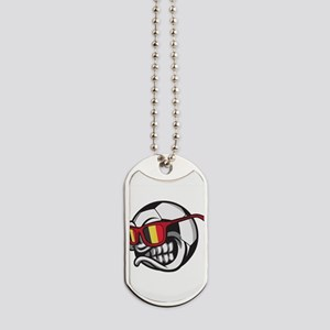 Belgium Angry Soccer Ball with Sunglasses Dog Tags