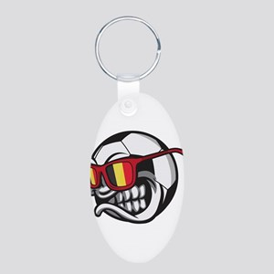 Belgium Angry Soccer Ball with Sunglasse Keychains