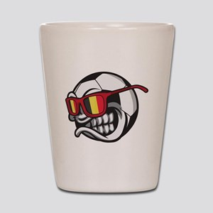 Belgium Angry Soccer Ball with Sunglass Shot Glass