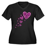 Pink Celtic Hearts Women's Plus Size V-Neck Dark T