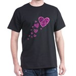 Pink Celtic Hearts Dark T-Shirt