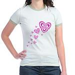 Pink Celtic Hearts Jr. Ringer T-Shirt