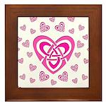 Pink Celtic Hearts Framed Tile