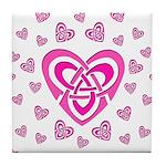 Pink Celtic Hearts Tile Coaster