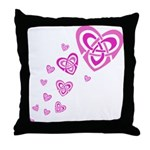 Pink Celtic Hearts Throw Pillow