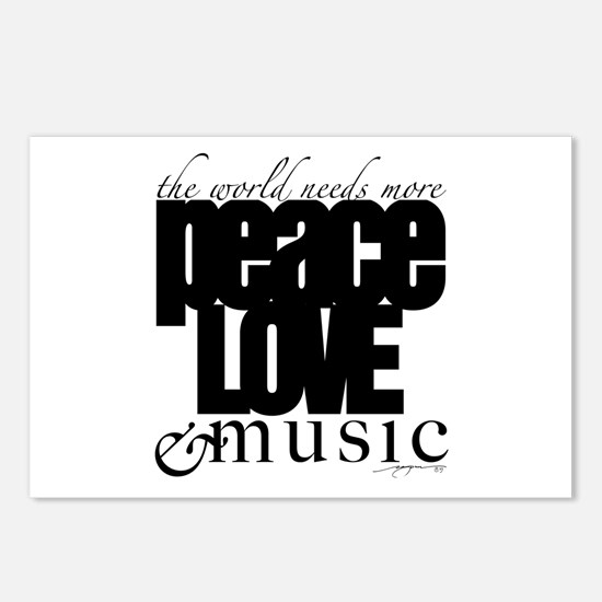 Cute Peace love music Postcards (Package of 8)