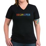 Recruiter - Women's V-Neck Dark T-Shirt