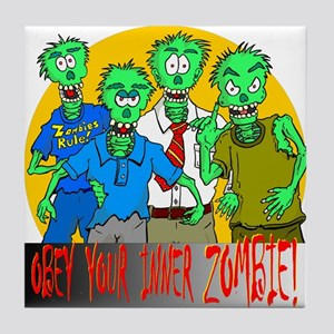 Funny Obey Your Inner Zombie Tile Coaster