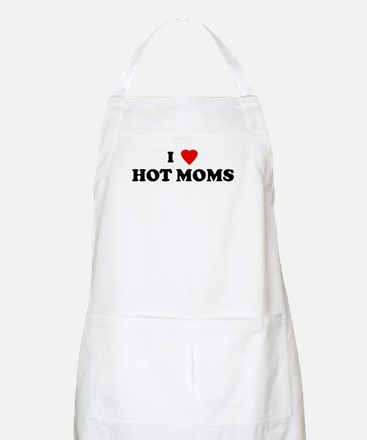 I Love HOT MOMS BBQ Apron