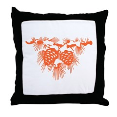 Orange Pinecones Throw Pillow