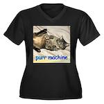 purr machine Women's Plus Size V-Neck Dark T-Shirt