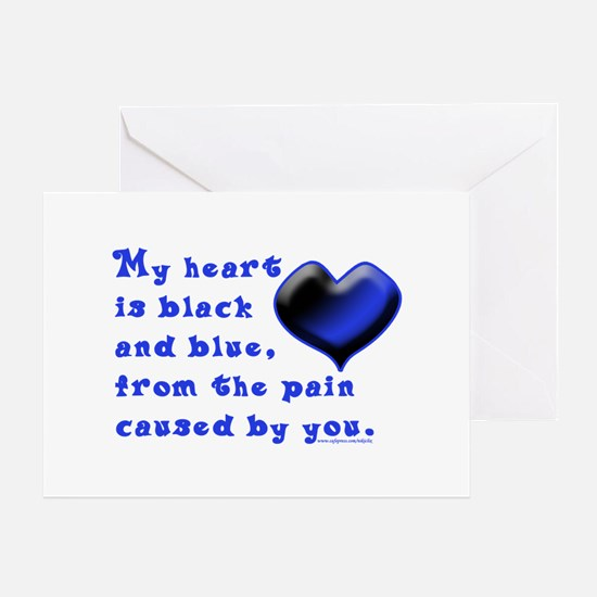 Black and Blue Heart Greeting Card