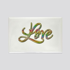 Gold Rainbow Retro Love Rectangle Magnet