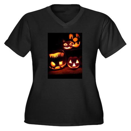 Halloween Pumpkins Women's Plus Size V-Neck Dark T