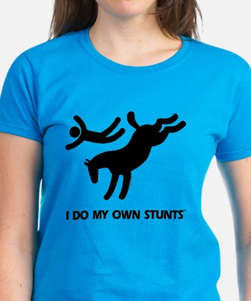 Horse I Do My Own Stunts Women's Dark T-Shirt