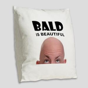 BALD BEAUTY Burlap Throw Pillow