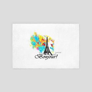 BONJOUR EIFFEL TOWER PARIS 4' x 6' Rug