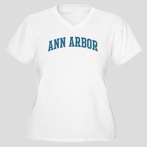 Ann Arbor (blue) Women's Plus Size V-Neck T-Shirt