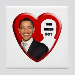 Buy Custom Obama Heart Tile Coaster