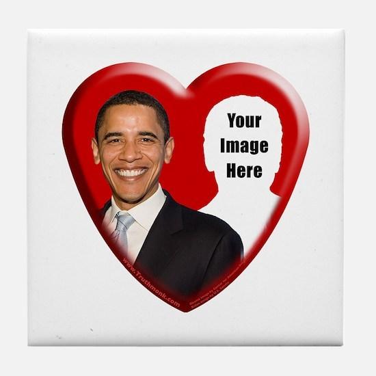 Buy Custom Obama Heart Tile Coaster