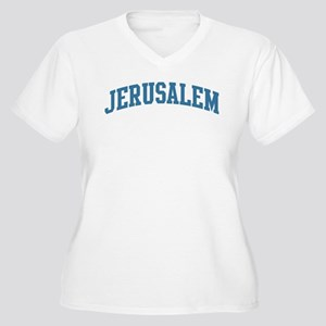 Jerusalem (blue) Women's Plus Size V-Neck T-Shirt