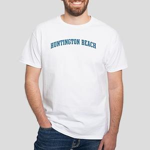 Huntington Beach (blue) White T-Shirt