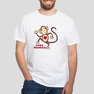 Love Monkey Heart White T-Shirt