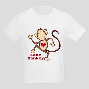 Love Monkey Heart Kids Light T-Shirt