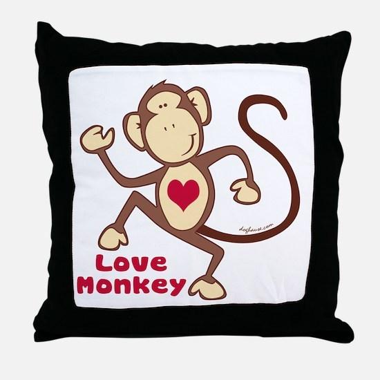 Love Monkey Heart Throw Pillow