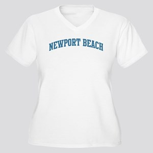 Newport Beach (blue) Women's Plus Size V-Neck T-Sh