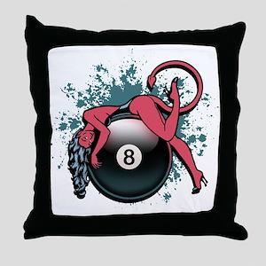 8-Ball Devil Girl Throw Pillow