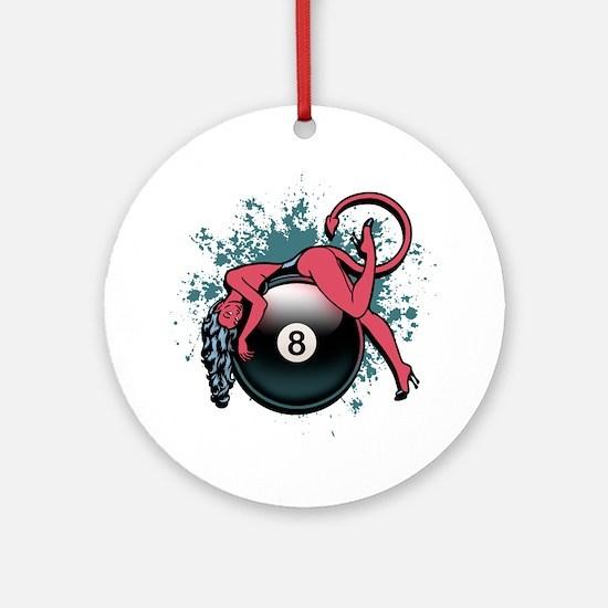 8-Ball Devil Girl Ornament (Round)