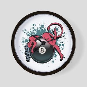 8-Ball Devil Girl Wall Clock