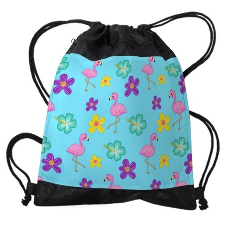 Flamingos and Flowers Drawstring Bag
