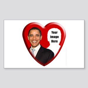 Buy Custom Obama Heart Rectangle Sticker
