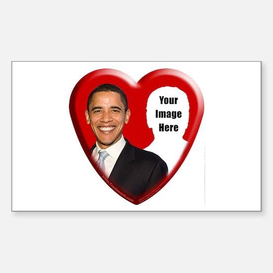 Buy Custom Obama Heart Rectangle Decal