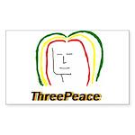 ThreePeace Rasta Rectangle Sticker 10 pk)