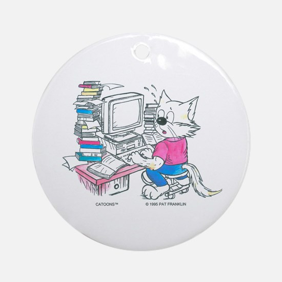 Catoons™ Computer Cat Ornament (Round)