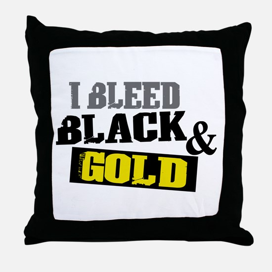 Bleed Black and Gold Throw Pillow
