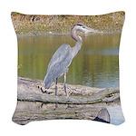 Blue Heron Woven Throw Pillow