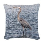 Blue Heron Water Woven Throw Pillow
