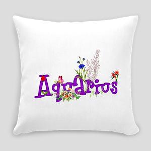 Aquarius Flowers Everyday Pillow