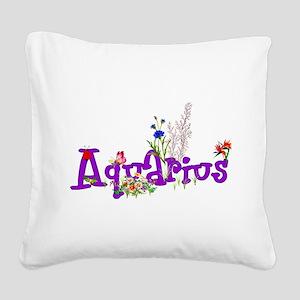 Aquarius Flowers Square Canvas Pillow