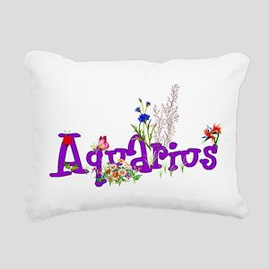 Aquarius Flowers Rectangular Canvas Pillow