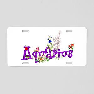 Aquarius Flowers Aluminum License Plate