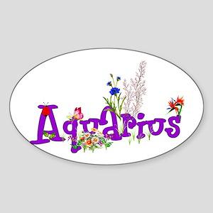 Aquarius Flowers Sticker (Oval)
