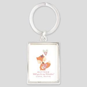 Fox Valentine Personalized Keychains