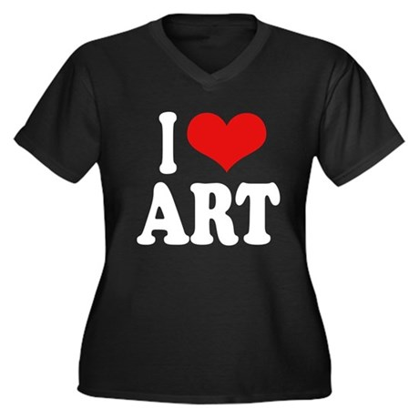 I Love Art Women's Plus Size V-Neck Dark T-Shirt