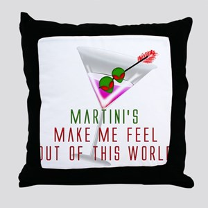 Alien Martini Throw Pillow